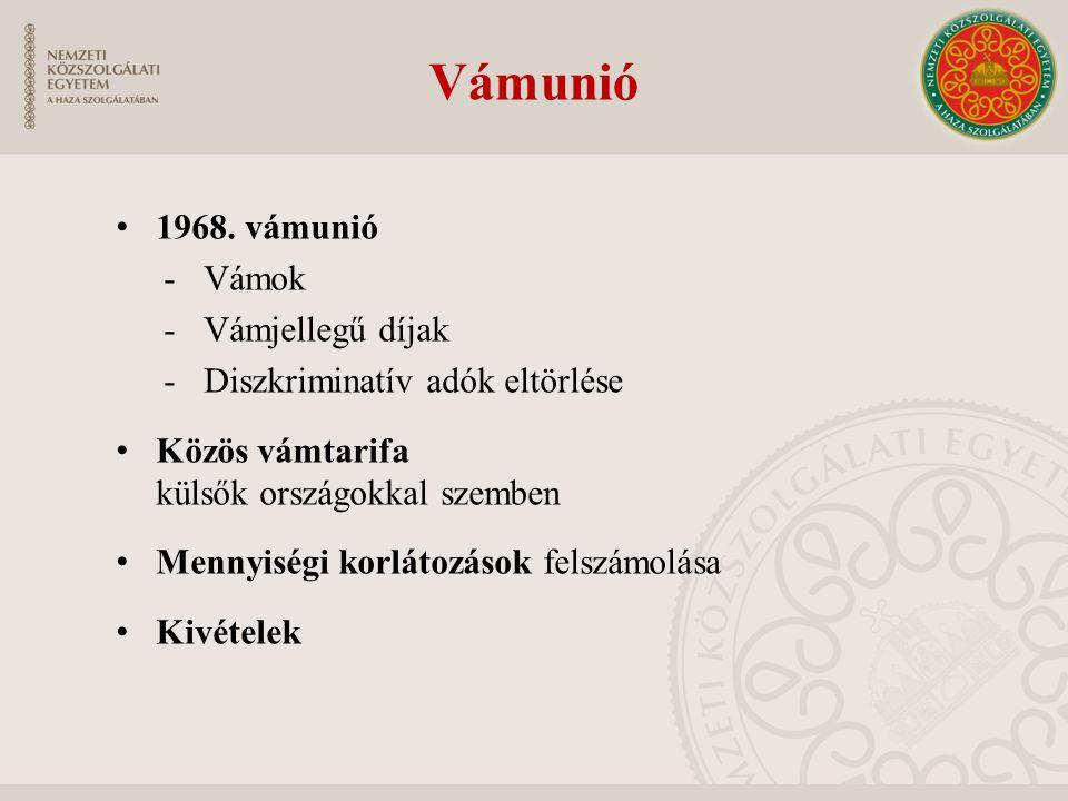 Vámunió 1968. vámunió -Vámok -Vámjellegű díjak -Diszkriminatív adók eltörlése Közös vámtarifa külsők országokkal szemben Mennyiségi korlátozások felsz