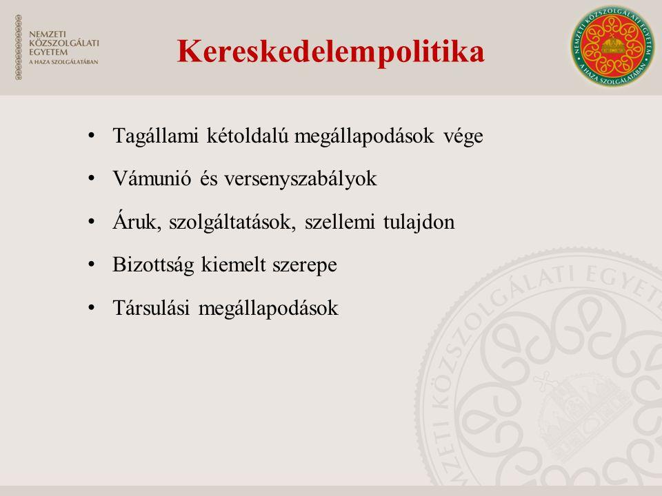 Kereskedelempolitika Tagállami kétoldalú megállapodások vége Vámunió és versenyszabályok Áruk, szolgáltatások, szellemi tulajdon Bizottság kiemelt sze
