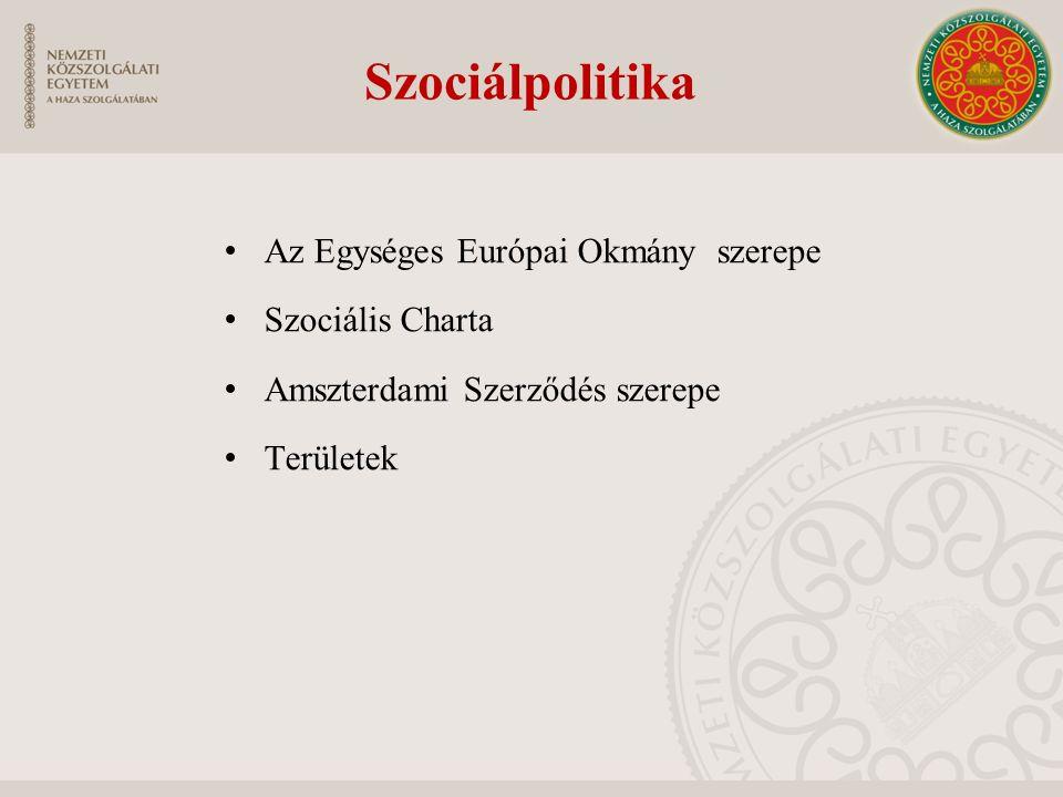 Szociálpolitika Az Egységes Európai Okmány szerepe Szociális Charta Amszterdami Szerződés szerepe Területek