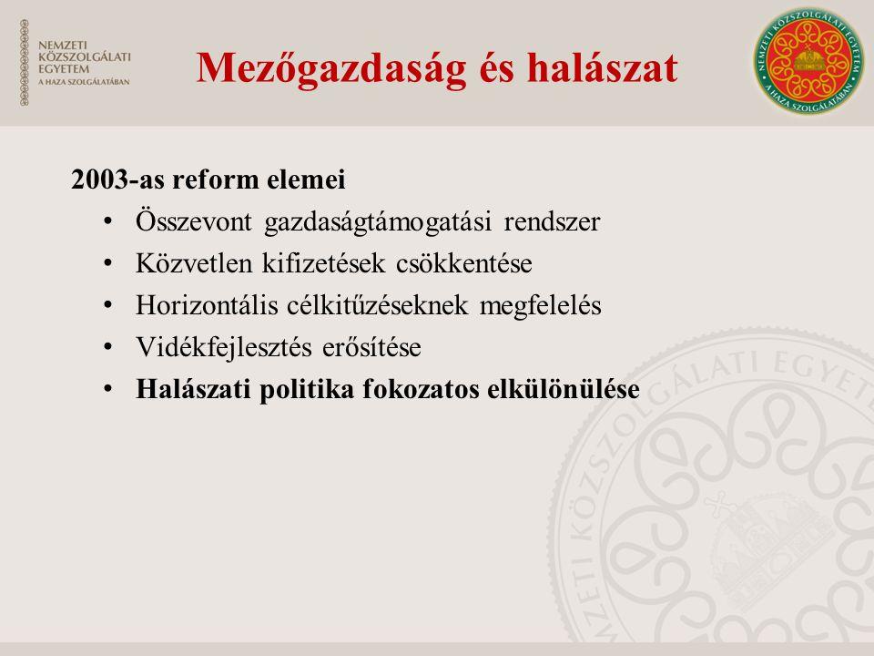 Mezőgazdaság és halászat 2003-as reform elemei Összevont gazdaságtámogatási rendszer Közvetlen kifizetések csökkentése Horizontális célkitűzéseknek me