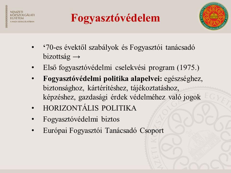 Fogyasztóvédelem '70-es évektől szabályok és Fogyasztói tanácsadó bizottság → Első fogyasztóvédelmi cselekvési program (1975.) Fogyasztóvédelmi politi