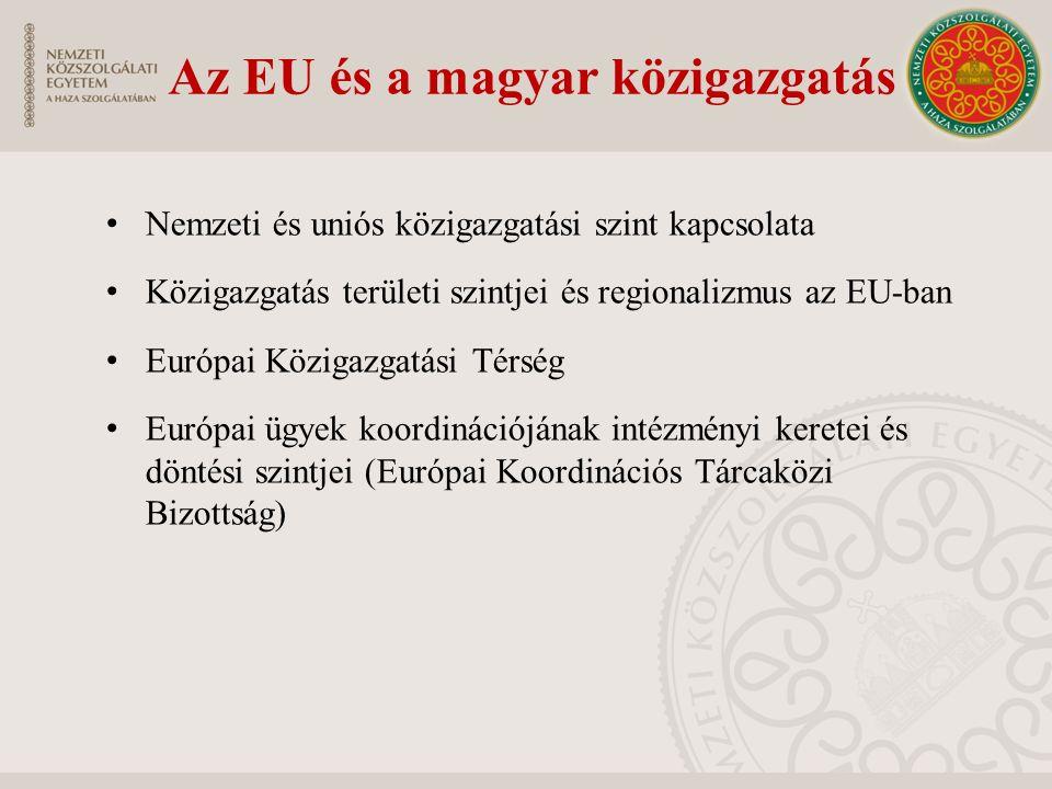 Az EU és a magyar közigazgatás Nemzeti és uniós közigazgatási szint kapcsolata Közigazgatás területi szintjei és regionalizmus az EU-ban Európai Közig