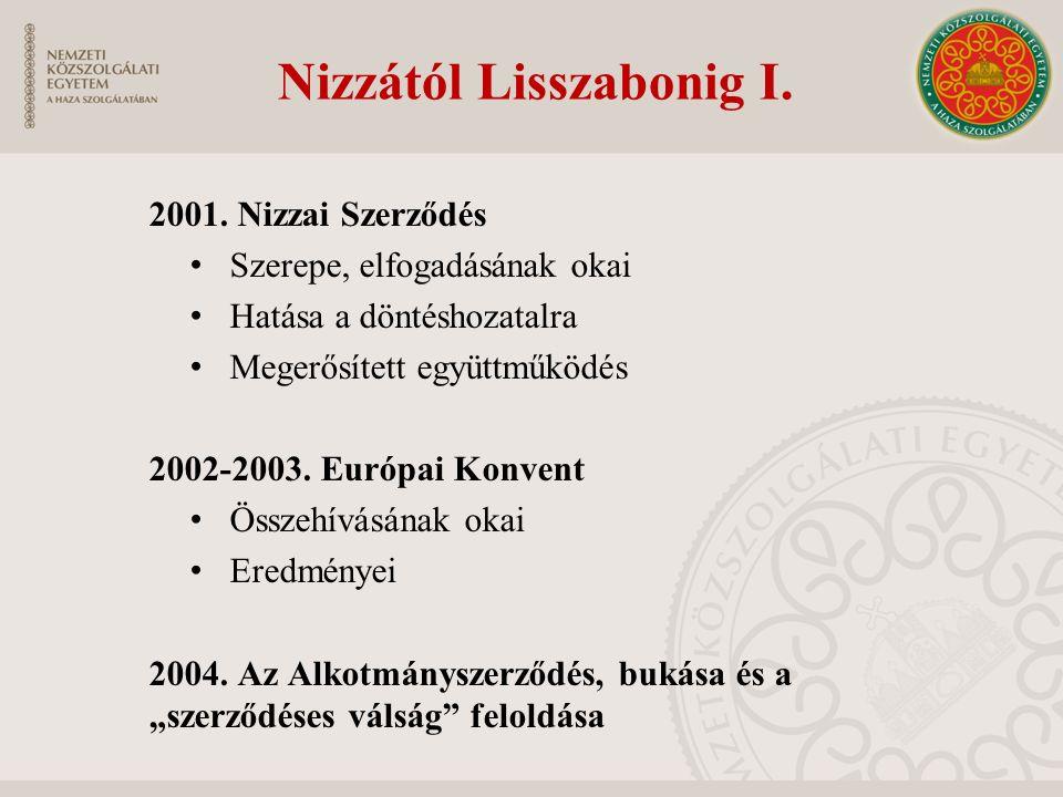 Nizzától Lisszabonig I. 2001. Nizzai Szerződés Szerepe, elfogadásának okai Hatása a döntéshozatalra Megerősített együttműködés 2002-2003. Európai Konv