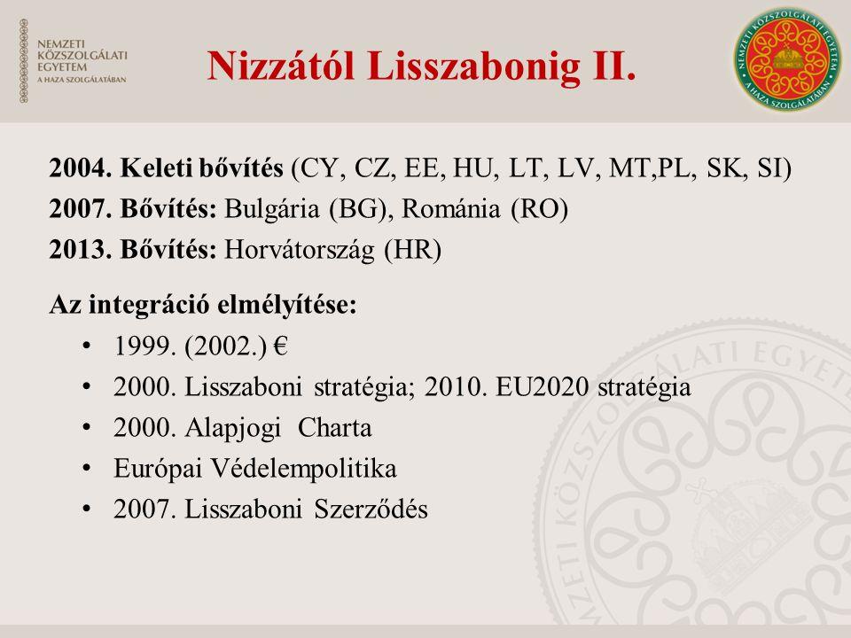 Nizzától Lisszabonig II. 2004. Keleti bővítés (CY, CZ, EE, HU, LT, LV, MT,PL, SK, SI) 2007. Bővítés: Bulgária (BG), Románia (RO) 2013. Bővítés: Horvát