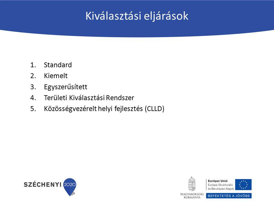 Kiválasztási eljárások 1.Standard 2.Kiemelt 3.Egyszerűsített 4.Területi Kiválasztási Rendszer 5.Közösségvezérelt helyi fejlesztés (CLLD)