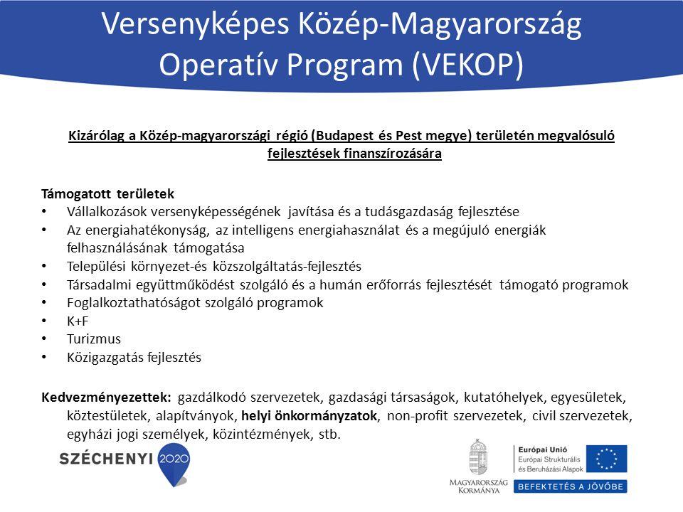 Versenyképes Közép-Magyarország Operatív Program (VEKOP) Kizárólag a Közép-magyarországi régió (Budapest és Pest megye) területén megvalósuló fejlesztések finanszírozására Támogatott területek Vállalkozások versenyképességének javítása és a tudásgazdaság fejlesztése Az energiahatékonyság, az intelligens energiahasználat és a megújuló energiák felhasználásának támogatása Települési környezet-és közszolgáltatás-fejlesztés Társadalmi együttműködést szolgáló és a humán erőforrás fejlesztését támogató programok Foglalkoztathatóságot szolgáló programok K+F Turizmus Közigazgatás fejlesztés Kedvezményezettek: gazdálkodó szervezetek, gazdasági társaságok, kutatóhelyek, egyesületek, köztestületek, alapítványok, helyi önkormányzatok, non-profit szervezetek, civil szervezetek, egyházi jogi személyek, közintézmények, stb.