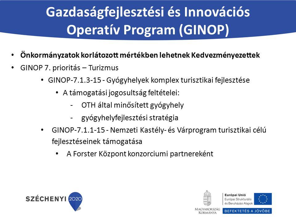 Gazdaságfejlesztési és Innovációs Operatív Program (GINOP) Önkormányzatok korlátozott mértékben lehetnek Kedvezményezettek GINOP 7.