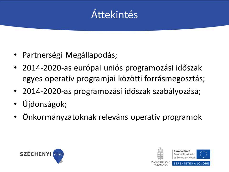 Áttekintés Partnerségi Megállapodás; 2014-2020-as európai uniós programozási időszak egyes operatív programjai közötti forrásmegosztás; 2014-2020-as programozási időszak szabályozása; Újdonságok; Önkormányzatoknak releváns operatív programok