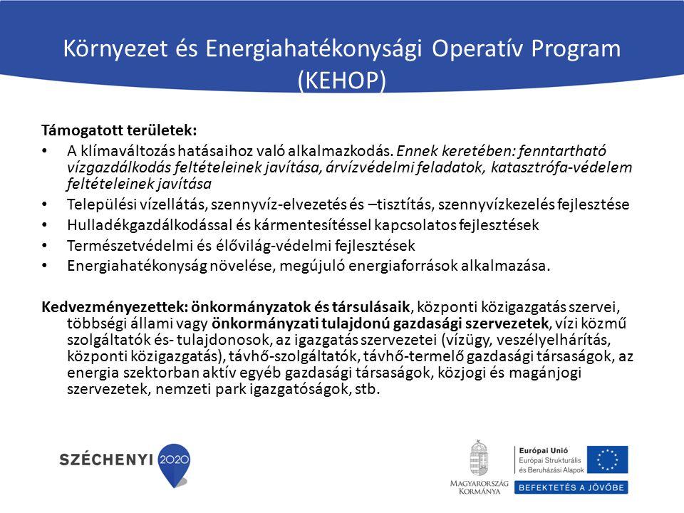 Környezet és Energiahatékonysági Operatív Program (KEHOP) Támogatott területek: A klímaváltozás hatásaihoz való alkalmazkodás.