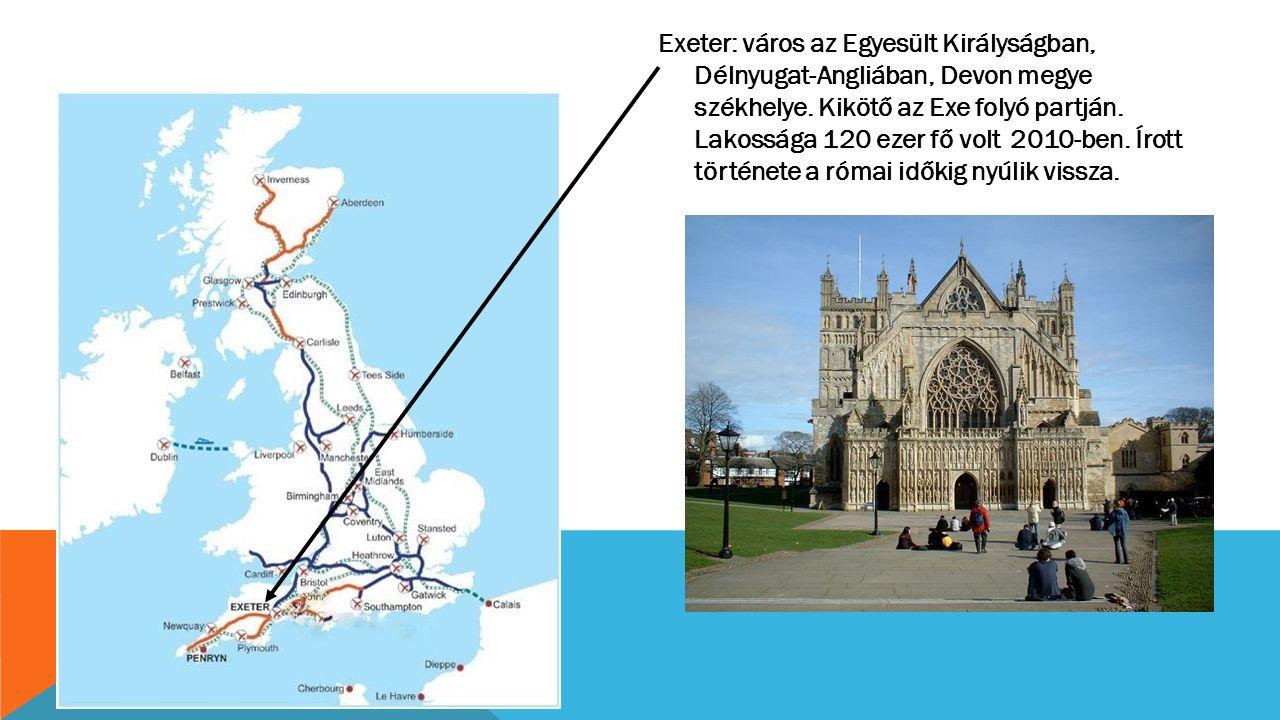 Exeter: város az Egyesült Királyságban, Délnyugat-Angliában, Devon megye székhelye. Kikötő az Exe folyó partján. Lakossága 120 ezer fő volt 2010-ben.