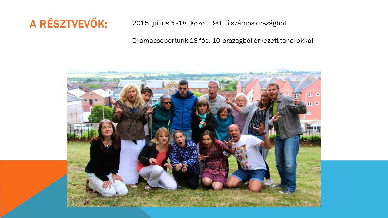 A RÉSZTVEVŐK: 2015. július 5 -18. között, 90 fő számos országból Drámacsoportunk 16 fős, 10 országból érkezett tanárokkal