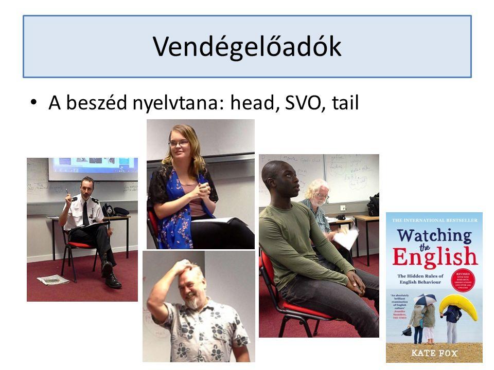 Vendégelőadók A beszéd nyelvtana: head, SVO, tail