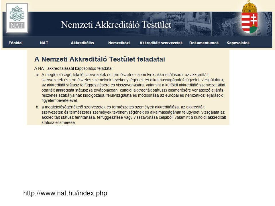 Nemzeti Akkreditáló Testület (NAT) Feladata: –elkészíti, –felülvizsgálja és –frissíti a környezeti hitelesítők listáját és akkreditálási működési területeket (akkreditálás a Közösségben NACE kód alapján történik) az adott tagállamban (Magyarországon a TEÁOR 2003 szerint).