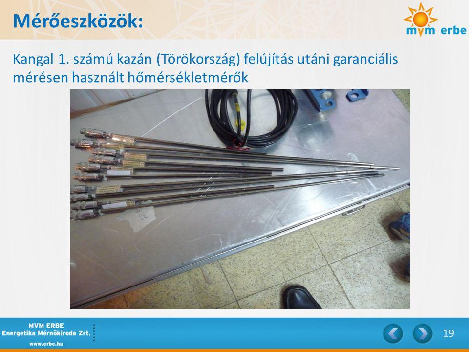Mérőeszközök: Kangal 1. számú kazán (Törökország) felújítás utáni garanciális mérésen használt hőmérsékletmérők