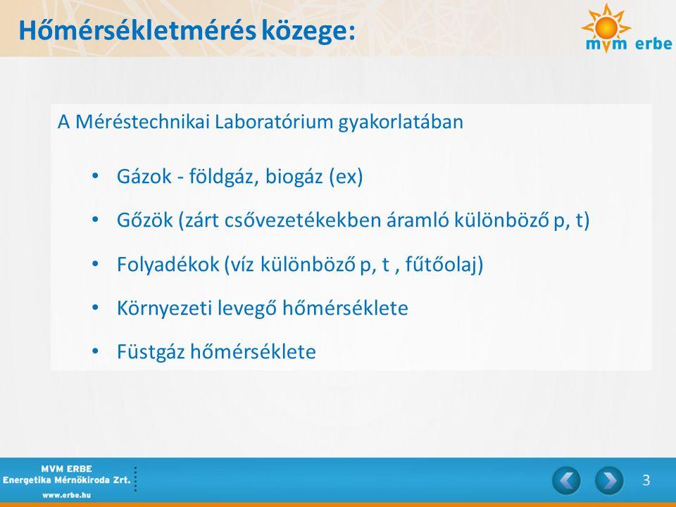 Hőmérsékletmérés közege: A Méréstechnikai Laboratórium gyakorlatában Gázok - földgáz, biogáz (ex) Gőzök (zárt csővezetékekben áramló különböző p, t) F