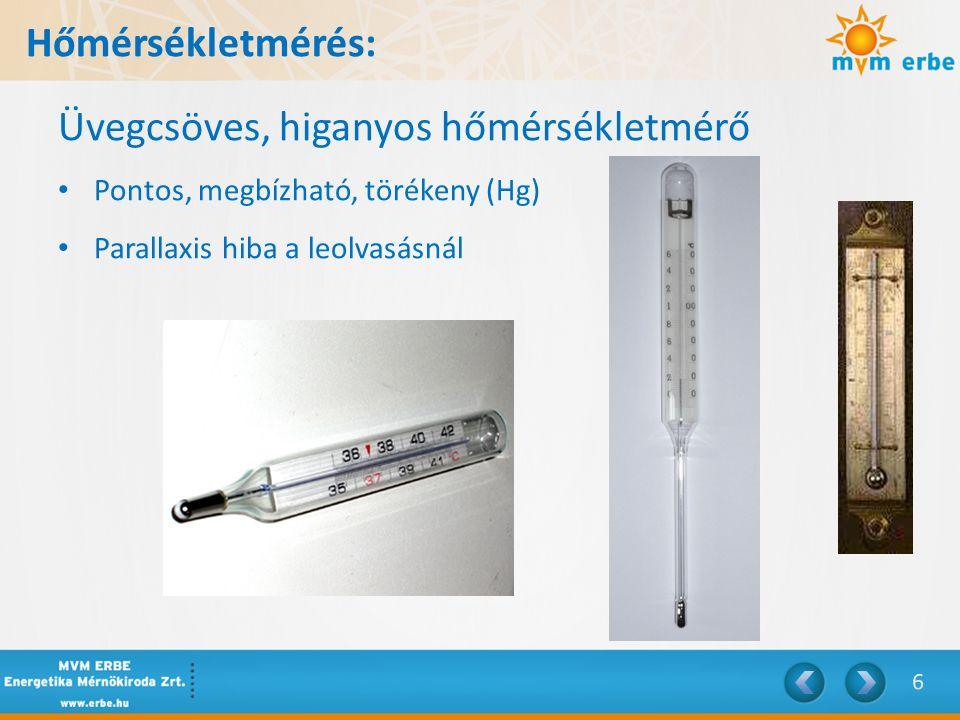Hőmérsékletmérés: Üvegcsöves, higanyos hőmérsékletmérő Pontos, megbízható, törékeny (Hg) Parallaxis hiba a leolvasásnál