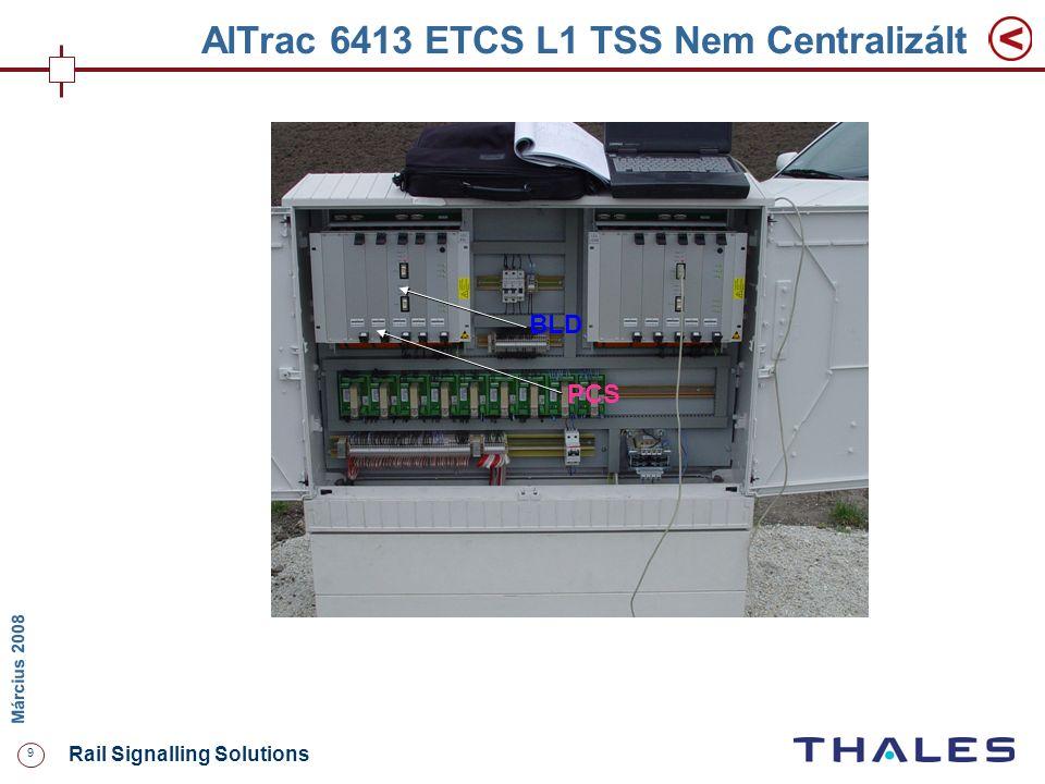 9 Rail Signalling Solutions M árcius 2008 AlTrac 6413 ETCS L1 TSS Nem Centralizált BLD PCS