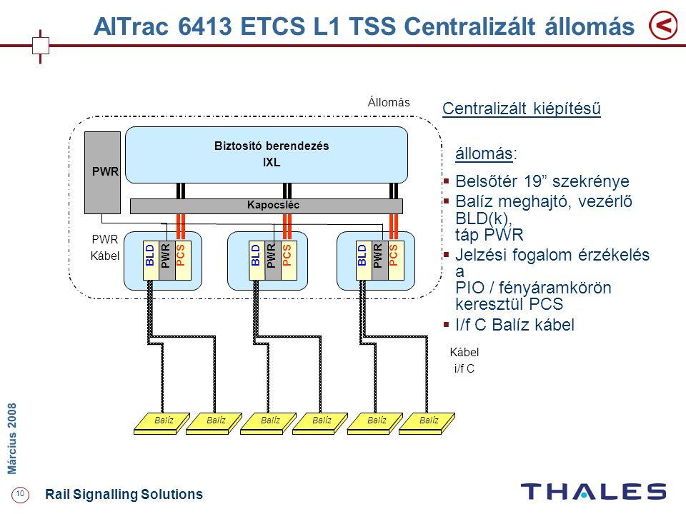 """10 Rail Signalling Solutions M árcius 2008 AlTrac 6413 ETCS L1 TSS Centralizált állomás Centralizált kiépítésű állomás:  Belsőtér 19"""" szekrénye  Bal"""