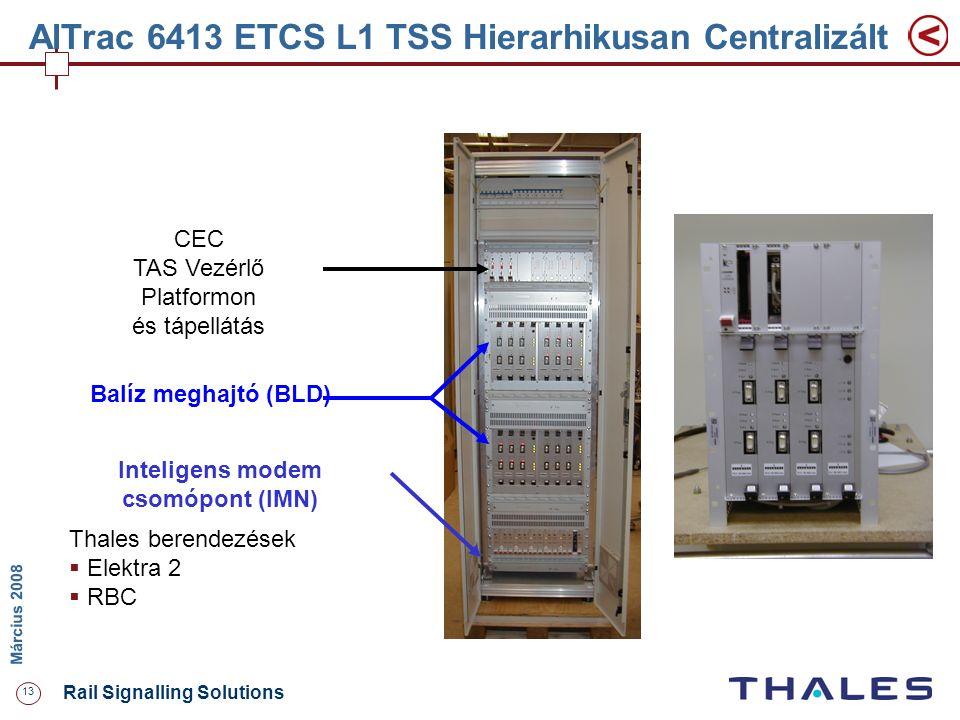 13 Rail Signalling Solutions M árcius 2008 AlTrac 6413 ETCS L1 TSS Hierarhikusan Centralizált CEC TAS Vezérlő Platformon és tápellátás Inteligens mode