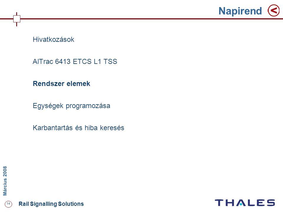 14 Rail Signalling Solutions M árcius 2008 Napirend Hivatkozások AlTrac 6413 ETCS L1 TSS Rendszer elemek Egységek programozása Karbantartás és hiba ke