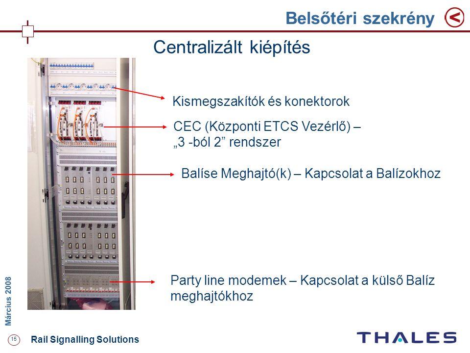 """15 Rail Signalling Solutions M árcius 2008 Belsőtéri szekrény Centralizált kiépítés Kismegszakítók és konektorok CEC (Központi ETCS Vezérlő) – """"3 -ból"""
