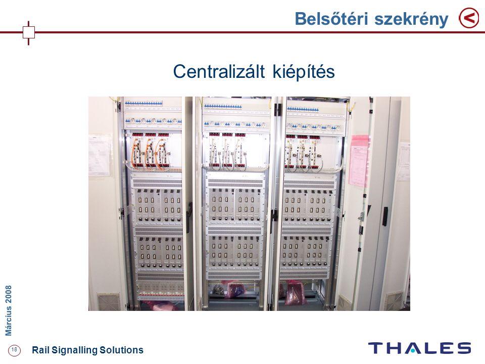 18 Rail Signalling Solutions M árcius 2008 Belsőtéri szekrény Centralizált kiépítés