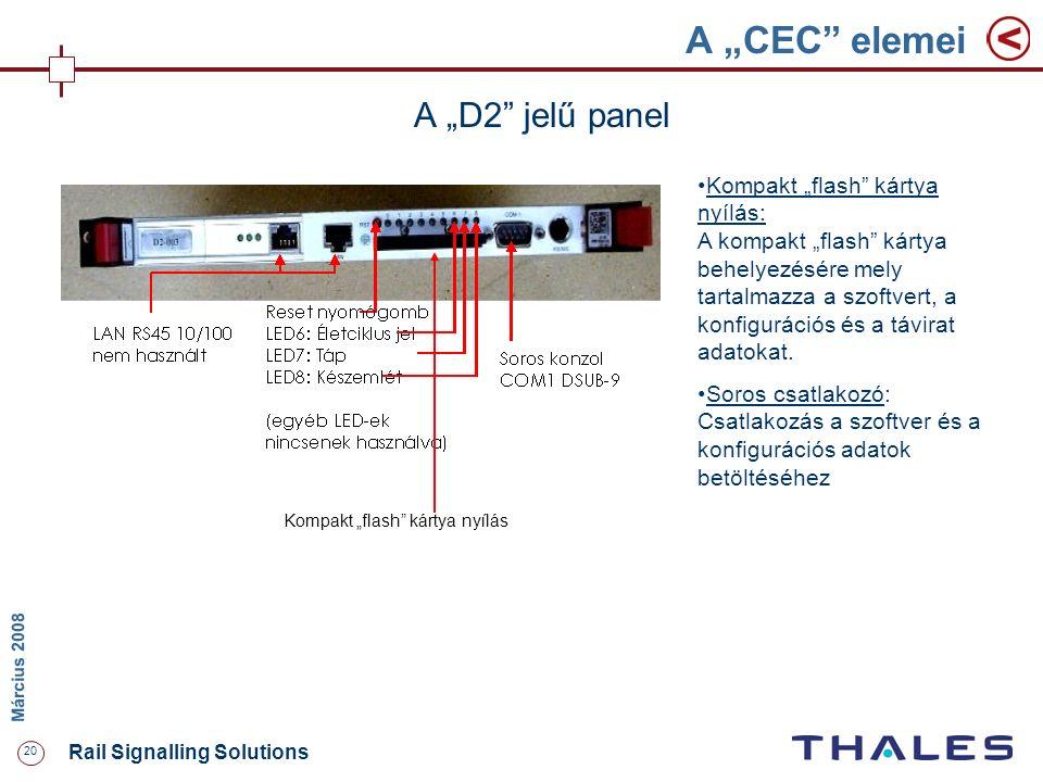 """20 Rail Signalling Solutions M árcius 2008 A """"CEC"""" elemei A """"D2"""" jelű panel Kompakt """"flash"""" kártya nyílás Kompakt """"flash"""" kártya nyílás: A kompakt """"fl"""