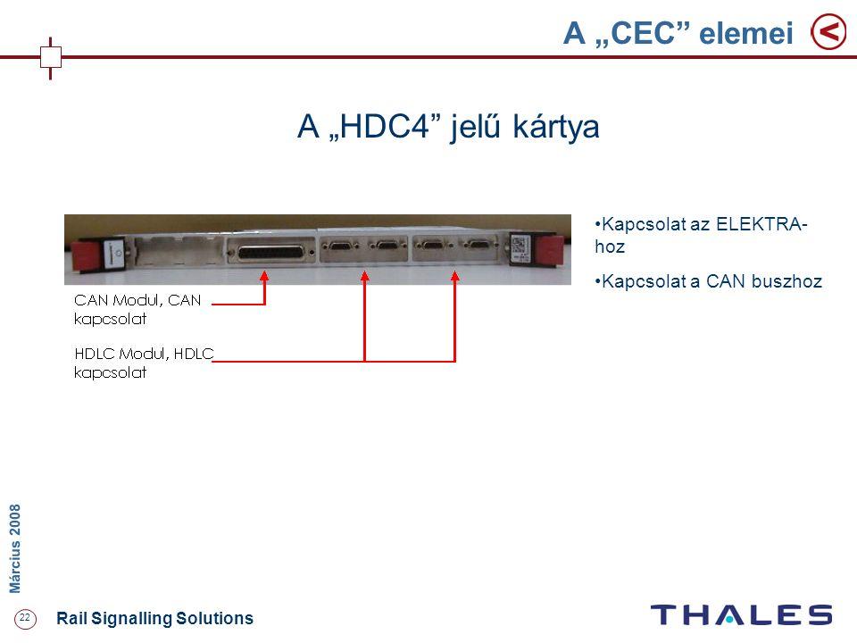 """22 Rail Signalling Solutions M árcius 2008 A """"CEC"""" elemei A """"HDC4"""" jelű kártya Kapcsolat az ELEKTRA- hoz Kapcsolat a CAN buszhoz"""