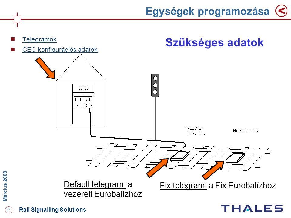27 Rail Signalling Solutions M árcius 2008 Egységek programozása Default telegram: a vezérelt Eurobalízhoz Fix telegram: a Fix Eurobalízhoz Szükséges