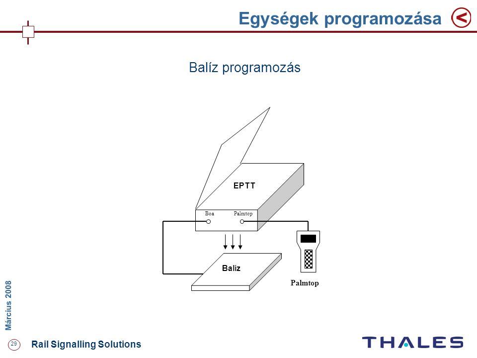 29 Rail Signalling Solutions M árcius 2008 Egységek programozása PalmtopBoa EPTT Balíz Palmtop Balíz programozás