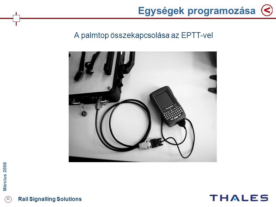 30 Rail Signalling Solutions M árcius 2008 Egységek programozása A palmtop összekapcsolása az EPTT-vel