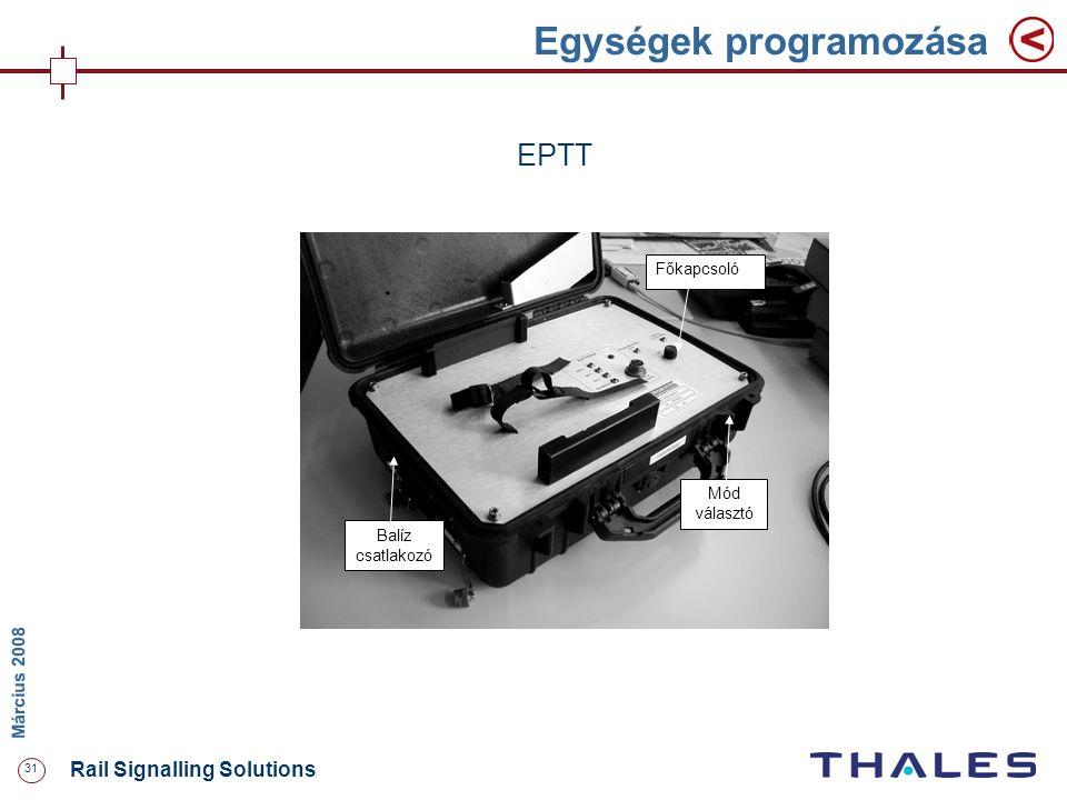 31 Rail Signalling Solutions M árcius 2008 Egységek programozása Főkapcsoló Mód választó Balíz csatlakozó EPTT