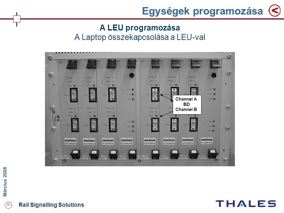 32 Rail Signalling Solutions M árcius 2008 Egységek programozása A LEU programozása A Laptop összekapcsolása a LEU-val Channel A BD Channel B