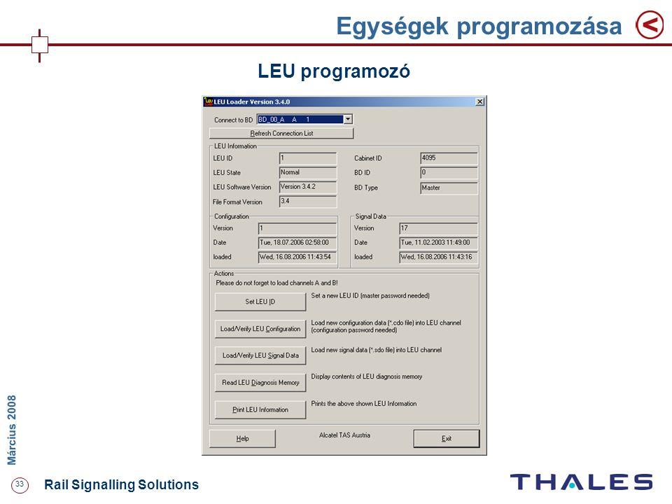 33 Rail Signalling Solutions M árcius 2008 Egységek programozása LEU programozó