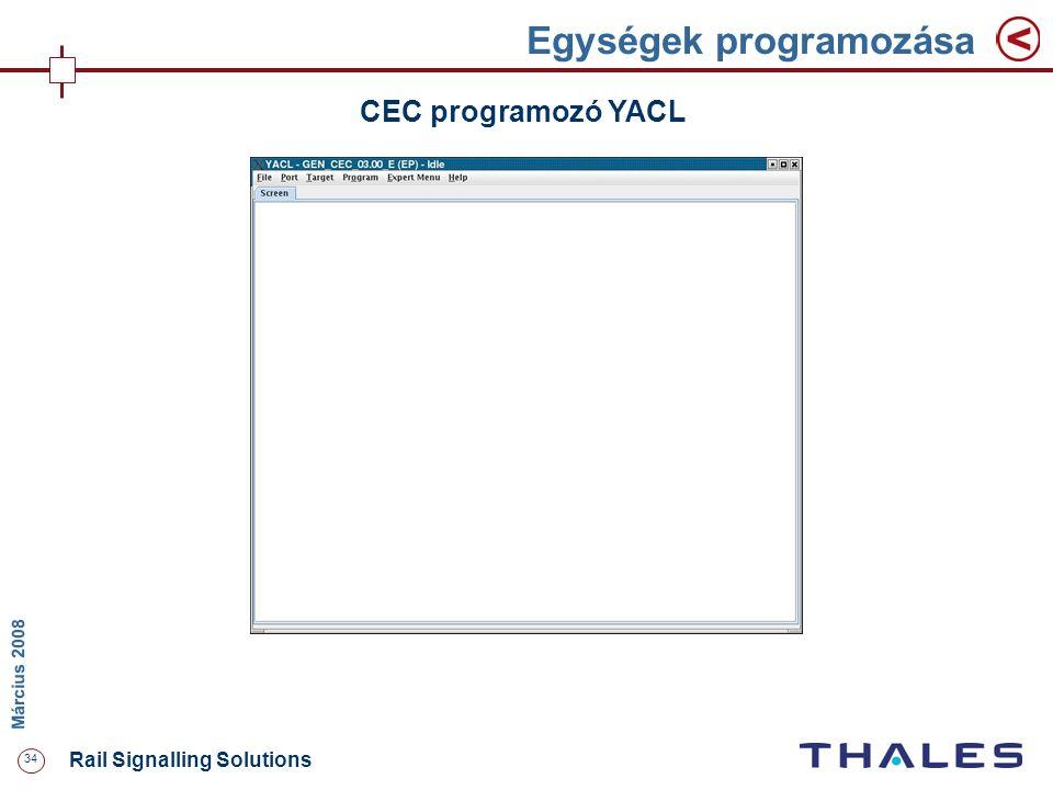 34 Rail Signalling Solutions M árcius 2008 Egységek programozása CEC programozó YACL