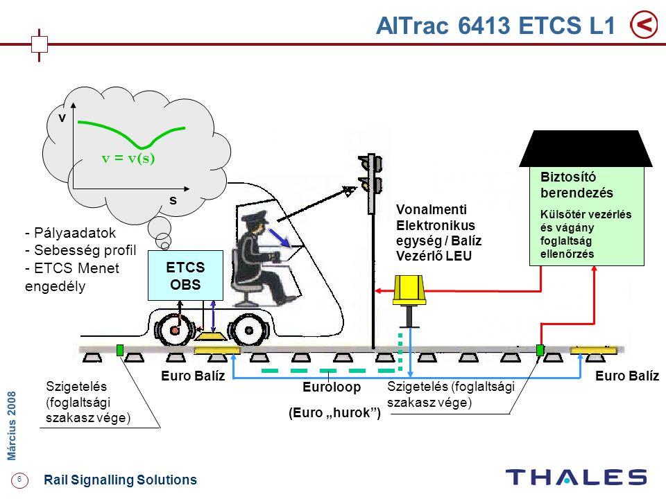 6 Rail Signalling Solutions M árcius 2008 AlTrac 6413 ETCS L1 ETCS OBS Szigetelés (foglaltsági szakasz vége) Euro Balíz - Pályaadatok - Sebesség profi