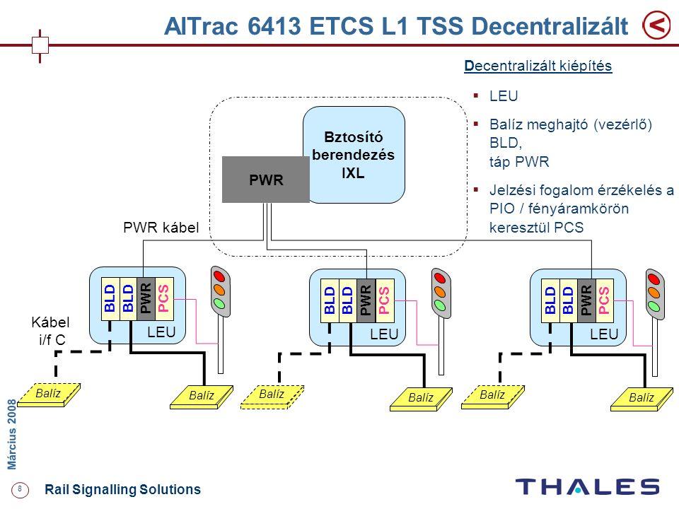 8 Rail Signalling Solutions M árcius 2008 AlTrac 6413 ETCS L1 TSS Decentralizált Bztosító berendezés IXL PWR Balíz Kábel i/f C Balíz BLD PWR Balíz BLD