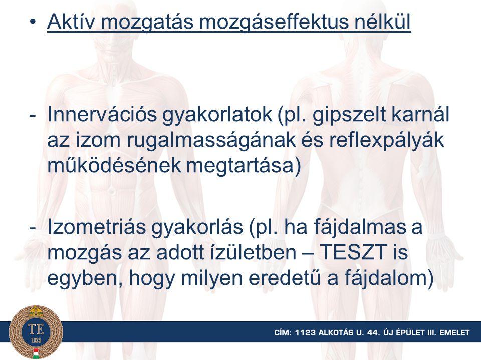 Aktív mozgatás mozgáseffektus nélkül -Innervációs gyakorlatok (pl. gipszelt karnál az izom rugalmasságának és reflexpályák működésének megtartása) -Iz