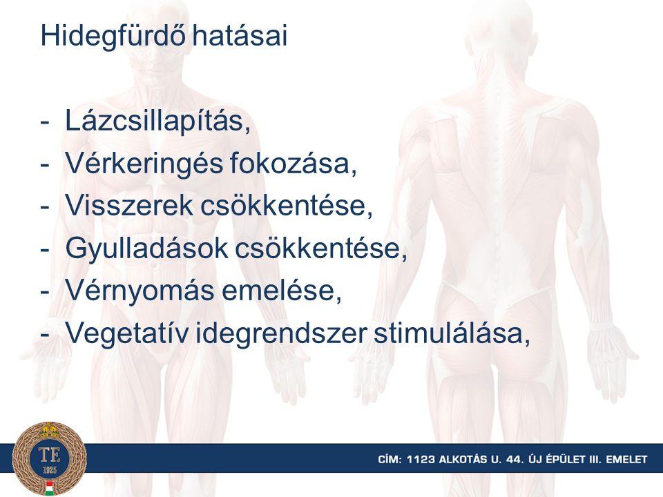 Hidegfürdő hatásai -Lázcsillapítás, -Vérkeringés fokozása, -Visszerek csökkentése, -Gyulladások csökkentése, -Vérnyomás emelése, -Vegetatív idegrendsz