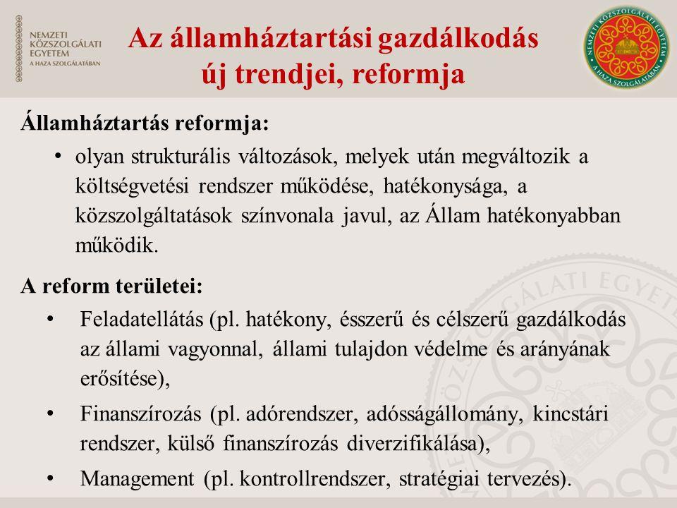 Államháztartás reformja: olyan strukturális változások, melyek után megváltozik a költségvetési rendszer működése, hatékonysága, a közszolgáltatások színvonala javul, az Állam hatékonyabban működik.