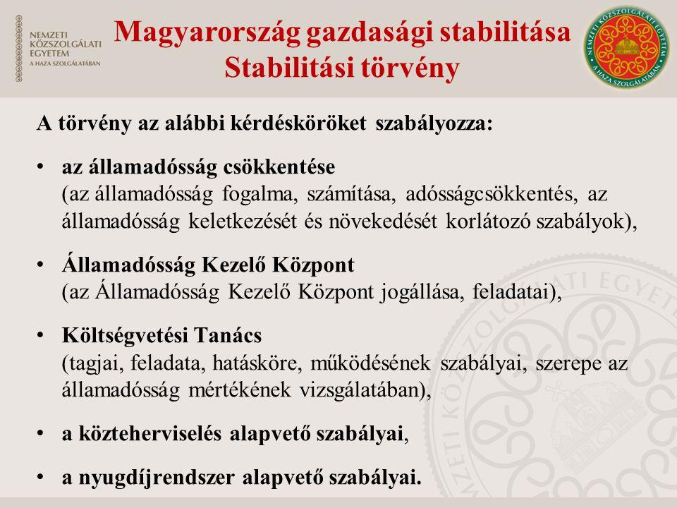 A törvény az alábbi kérdésköröket szabályozza: az államadósság csökkentése (az államadósság fogalma, számítása, adósságcsökkentés, az államadósság keletkezését és növekedését korlátozó szabályok), Államadósság Kezelő Központ (az Államadósság Kezelő Központ jogállása, feladatai), Költségvetési Tanács (tagjai, feladata, hatásköre, működésének szabályai, szerepe az államadósság mértékének vizsgálatában), a közteherviselés alapvető szabályai, a nyugdíjrendszer alapvető szabályai.