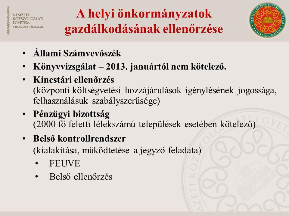 A helyi önkormányzatok gazdálkodásának ellenőrzése Állami Számvevőszék Könyvvizsgálat – 2013.
