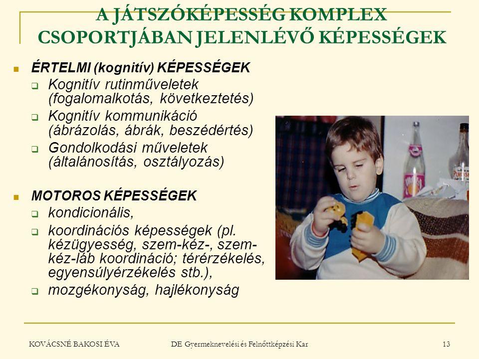 KOVÁCSNÉ BAKOSI ÉVA DE Gyermeknevelési és Felnőttképzési Kar 13 A JÁTSZÓKÉPESSÉG KOMPLEX CSOPORTJÁBAN JELENLÉVŐ KÉPESSÉGEK ÉRTELMI (kognitív) KÉPESSÉG