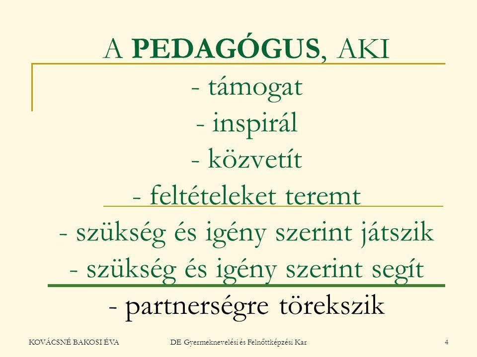 KOVÁCSNÉ BAKOSI ÉVADE Gyermeknevelési és Felnőttképzési Kar4 A PEDAGÓGUS, AKI - támogat - inspirál - közvetít - feltételeket teremt - szükség és igény