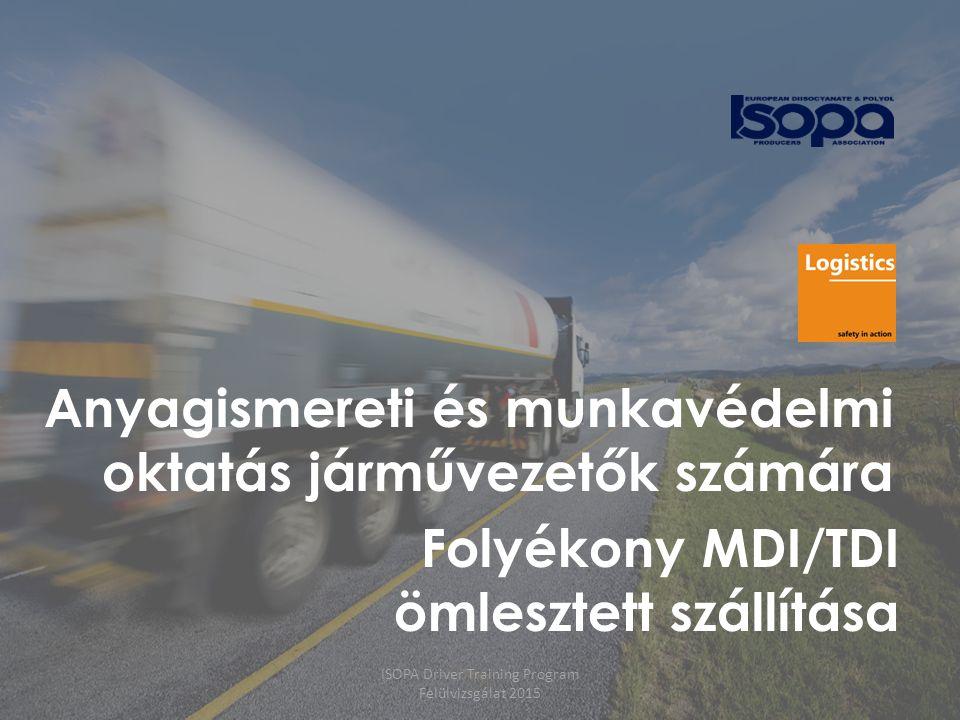ISOPA Driver Training Program Felülvizsgálat 2015 32 Szállítási szempontok  Vezetési idő / sebesség  Hőmérséklet- (és nyomás-)ellenőrzés  Veszélyes körülmények/rendellenes esetek lejelentése  Parkolás