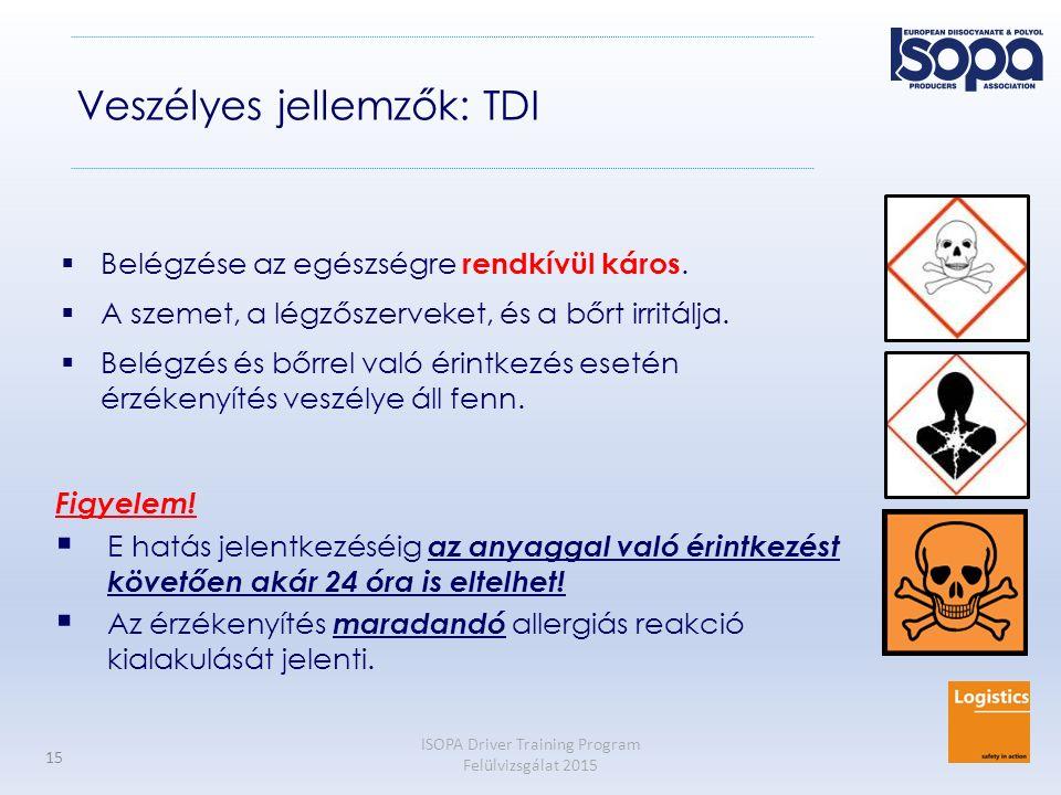 ISOPA Driver Training Program Felülvizsgálat 2015 15 Veszélyes jellemzők: TDI  Belégzése az egészségre rendkívül káros.  A szemet, a légzőszerveket,