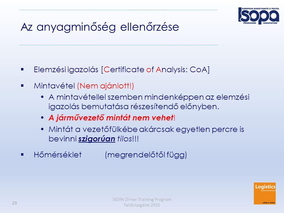 ISOPA Driver Training Program Felülvizsgálat 2015 23 Az anyagminőség ellenőrzése  Elemzési igazolás [Certificate of Analysis: CoA]  Mintavétel (Nem