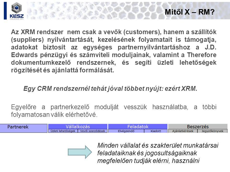 Mitől X – RM? Az XRM rendszer nem csak a vevők (customers), hanem a szállítók (suppliers) nyilvántartását, kezelésének folyamatait is támogatja, adato
