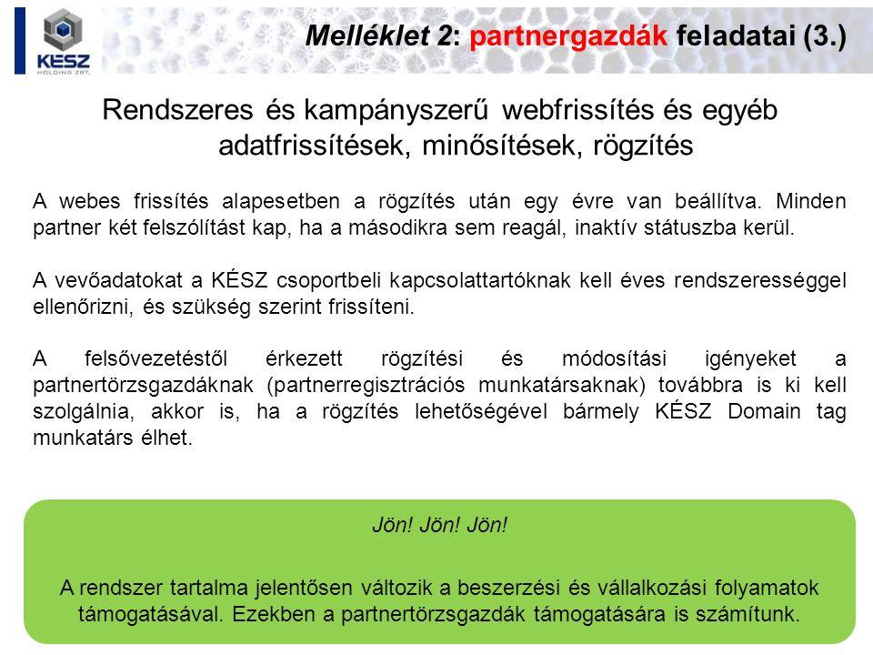 Melléklet 2: partnergazdák feladatai (3.) Rendszeres és kampányszerű webfrissítés és egyéb adatfrissítések, minősítések, rögzítés Jön! Jön! Jön! A ren