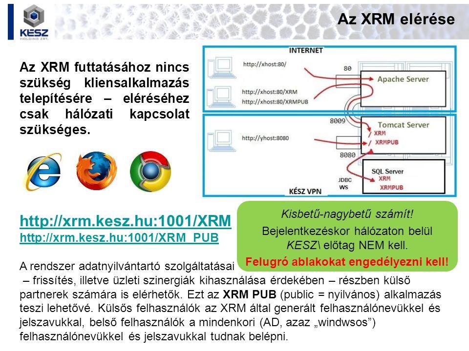 Az XRM elérése Az XRM futtatásához nincs szükség kliensalkalmazás telepítésére – eléréséhez csak hálózati kapcsolat szükséges. http://xrm.kesz.hu:1001